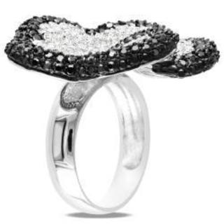 Miadora Sterling Silver White and Black Cubic Zirconia Ring (9 7/8ct TDW)