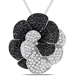 Miadora Sterling Silver White and Black Cubic Zirconia Flower Necklace (12ct TGW)