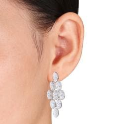 Miadora Sterling Silver White Cubic Zirconia Drop Earrings