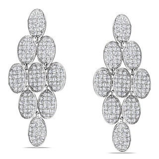 Miadora Sterling Silver White Cubic Zirconia Drop Earrings