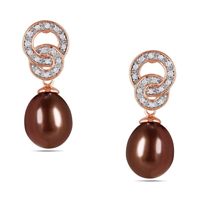 Miadora Pink Silver FW Chocolate Pearl and 1/10ct TDW Diamond Stud Earrings (G-H, I3)