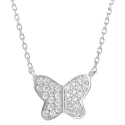 Tressa Silvertone Pave-set Cubic Zirconia Butterfly Necklace