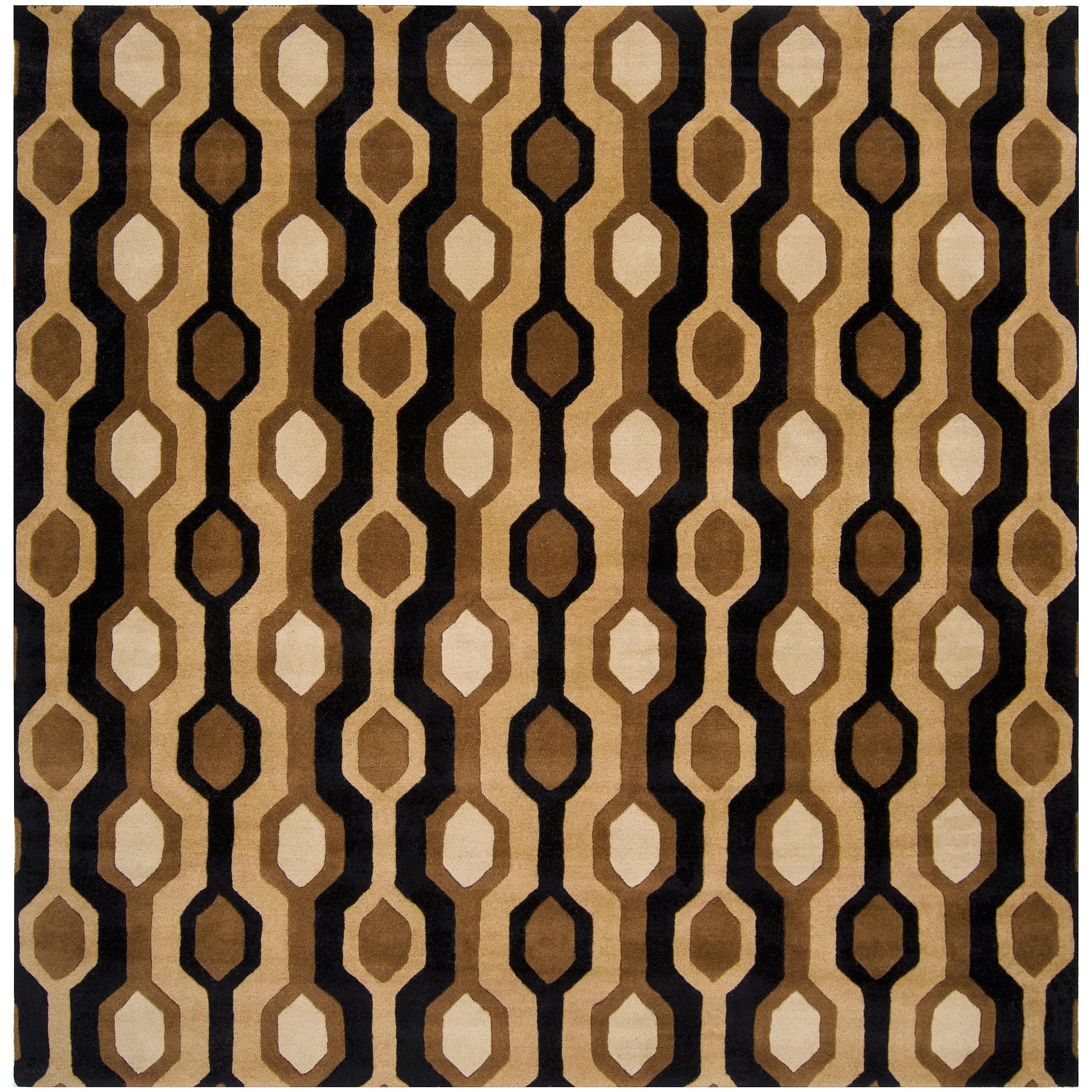 Hand-tufted Black Contemporary Letchworth Wool Geometric Rug (9'9 x 9'9)