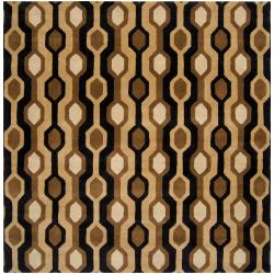 Hand-tufted Black Contemporary Letchworth Wool Geometric Rug (9'9 x 9'9)