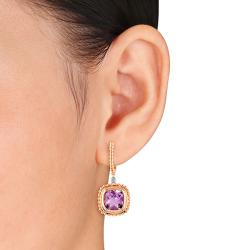 Miadora Pink Silver Amethyst and Diamond Accent Cuff Earrings (6ct TGW)