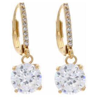 NEXTE Jewelry Goldtone Cubic Zirconia Solitaire Dangle Earrings