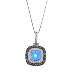 14k White Gold Blue Topaz and 1/2ct TDW Diamond Necklace (G-H, SI1-SI2)