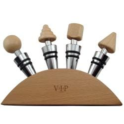 Wine Opener with Accessories and Wood-Head Wine Stoppers Set
