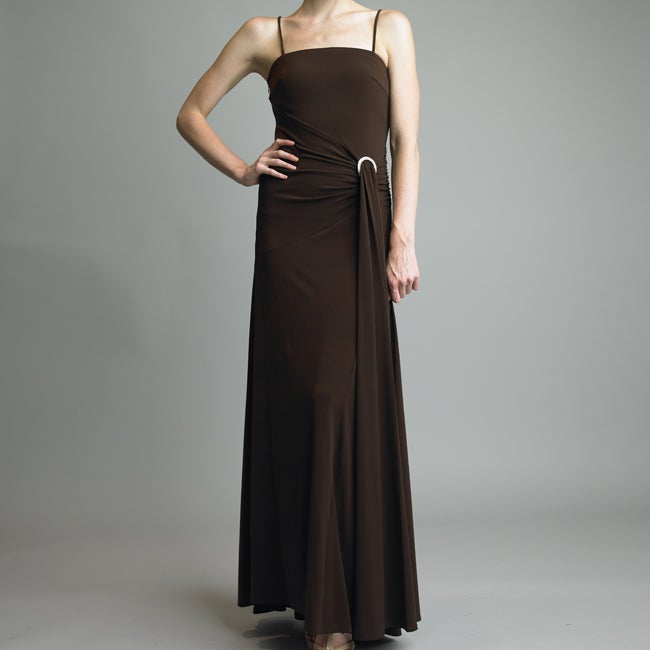 Issue New York Women's Brown Rhinestone Buckle Cocktail Dress