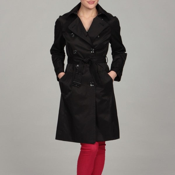 London Fog Women's Black Double Breasted Trench Coat