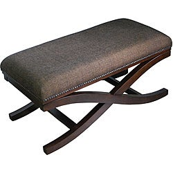 Large Cocktail Brown Textured Fabric X Bench
