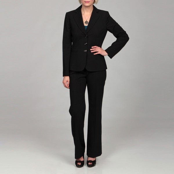 Tahari Women's Black/ White Pinstripe Pant Suit