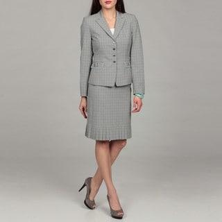 Tahari Women's Grey/ Blue/ Yellow Pleated Suit