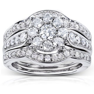 Annello 14k White Gold 1ct TDW 3-piece Diamond Bridal Rings Set (H-I, I1-I2)