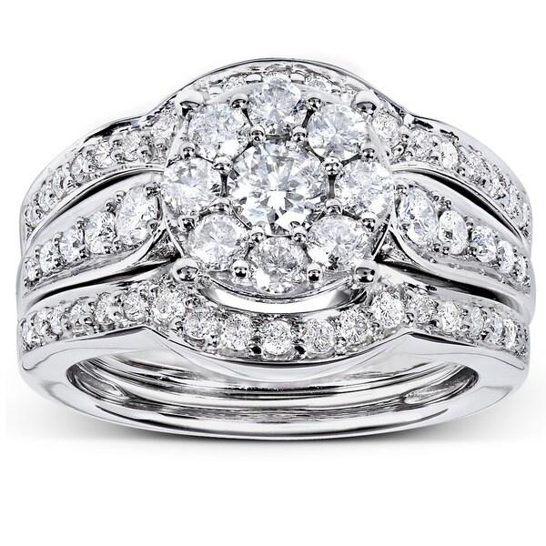 Annello 14k White Gold 1ct TDW 3-piece Diamond Bridal Rings Set (H-I, I1-I2)