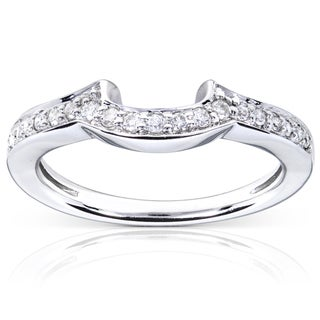 Annello 14k White Gold 1/6ct TDW Diamond Curved Wedding Band (H-I, I1-I2)