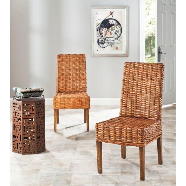 indoor wicker honey side chairs set of 2 dining room