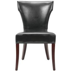 Safavieh Matty Black Bicast Leather Side Chairs (Set of 2)