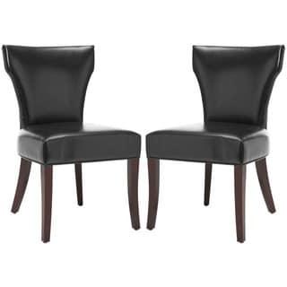 Safavieh En Vogue Dining Matty Black Bicast Leather Side Chairs (Set of 2)