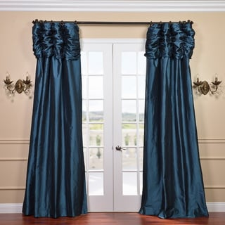 Ruched Header Mediterranean Solid Color Faux Silk Taffeta 84-inch Curtain Panel
