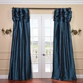 Ruched Header Mediterranean Solid Color Faux Silk Taffeta 96-inch Curtain Panel