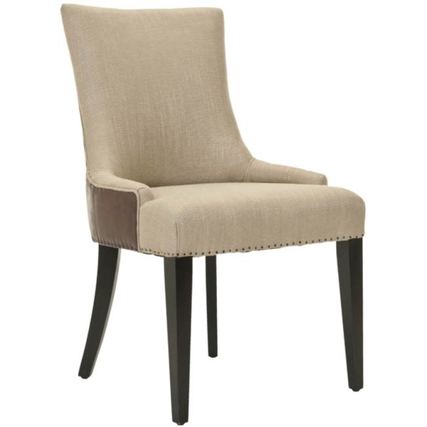 Safavieh Becca Beige Viscose and Leather Back Dining Chair