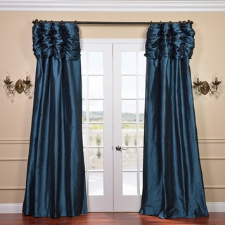 Ruched Header Mediterranean Solid Color Faux Silk Taffeta 120-inch Curtain Panel