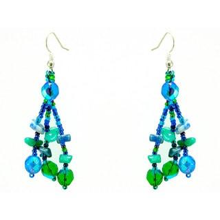 Earrings Luzy Blue and Green Handmade Earrings (Guatemala)