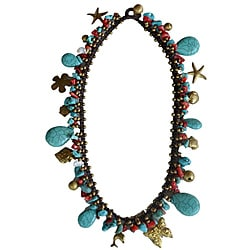 Turquoise and Coral Thai Necklace (Thailand)