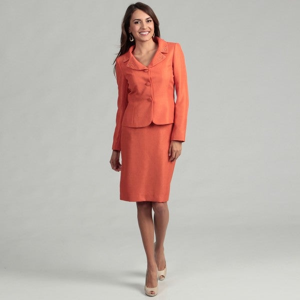 Tahari Women's Clementine Sequined Skirt Suit