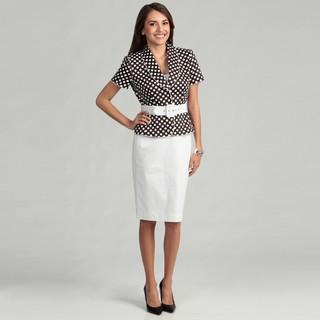 Tahari Women's Brown/ White Polka-dot Skirt Suit