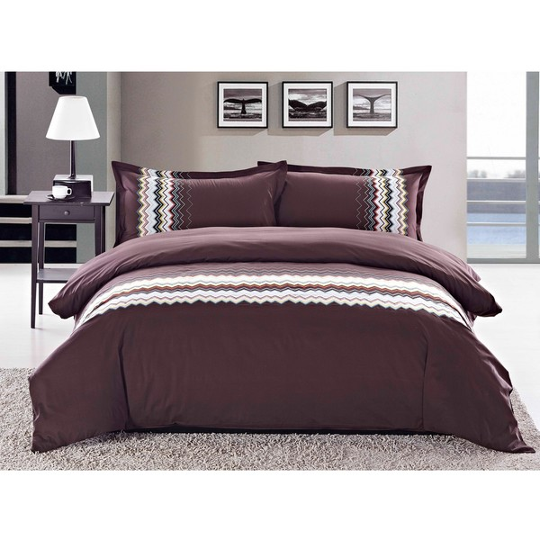 Zig-zag Embroidered Queen-size 3-piece Duvet Cover Set