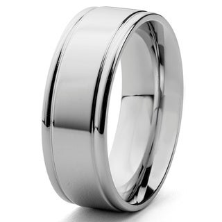 Stainless Steel Men's Brushed Center and Polished Edge Ring
