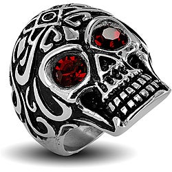 West Coast Jewelry Stainless Steel Men's Red Cubic Zirconia Eyes Skull Ring