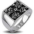Stainless Steel Men's Hieroglyphic Flower Ring