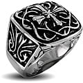 West Coast Jewelry Stainless Steel Men's Ornamental Cross Ring