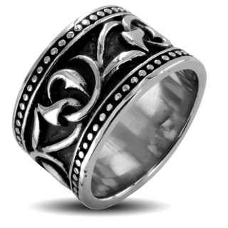 West Coast Jewelry Stainless Steel Men's Twisted Vine Ring