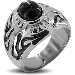 West Coast Jewelry Stainless Steel Onyx Stone Men's Ring