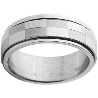 Stainless Steel Men's Checker Spinner Ring