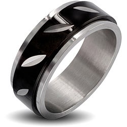 Polished Stainless Steel with Black Grooved Men's Spinner Ring