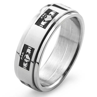 Stainless Steel Men's Claddagh Spinner Ring