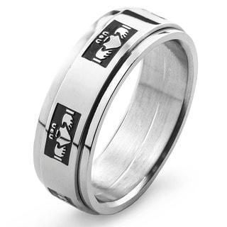 Stainless Steel Men's Claddagh Spinner Ring