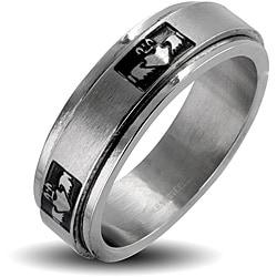 West Coast Jewelry Stainless Steel Men's Claddagh Spinner Ring