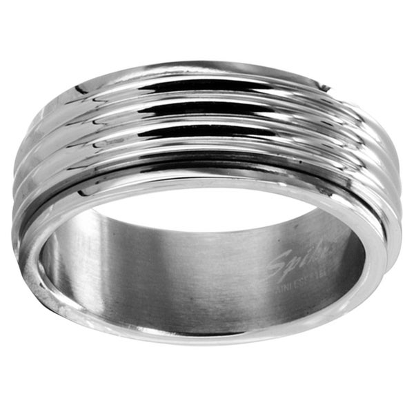 Stainless Steel Men's Grooved Spinner Ring