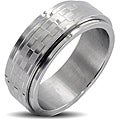West Coast Jewelry Stainless Steel Brushed and Polished Men's Checker Spinner Ring