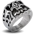 Stainless Steel Men's Large Fleur De Lis Ring