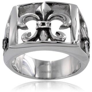 Stainless Steel Men's Fleur De Lis Cutout Ring