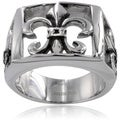 Stainless Steel Men's Fleur De Lis Cutout Ring