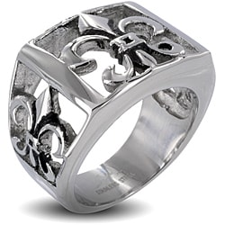 West Coast Jewelry Stainless Steel Men's Fleur De Lis Cutout Ring