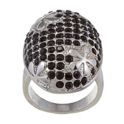 Silvertone Brass Black Crystal Flower Cocktail Ring